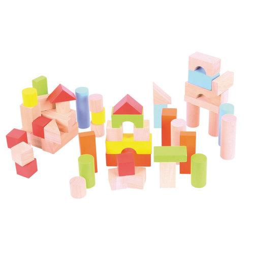 Bigjigs Toys Tub of Wooden Building Bricks - Stacking Blocks