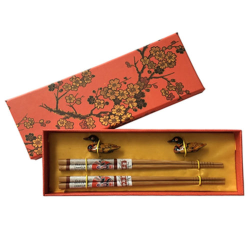 Chopsticks Reusable Set - Asian-style Natural Wooden Chop Stick Set with Case as Present Gift,T