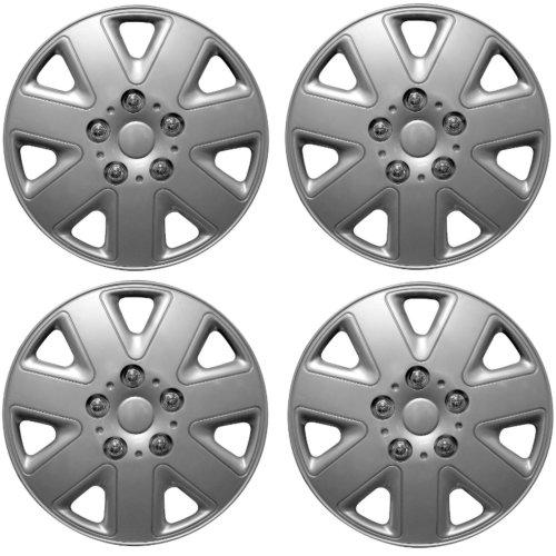 "Brookstone Madrid Car Wheel Trim Set 14"" Silver Set Of 4 Hub Caps Covers"