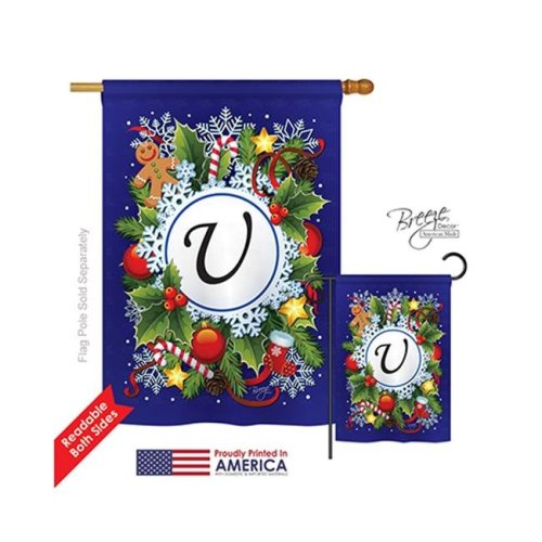 Breeze Decor 30099 Winter U Monogram 2-Sided Vertical Impression House Flag - 28 x 40 in.