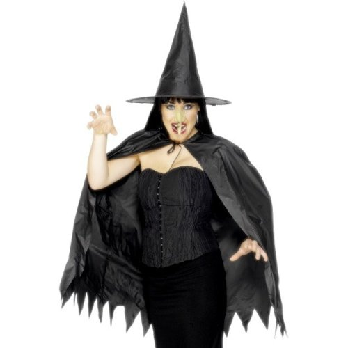 Black Ladies Witch Instant Kit -  instant witch fancy dress set kit halloween costume cape hat nose ladies adult accessory smiffys
