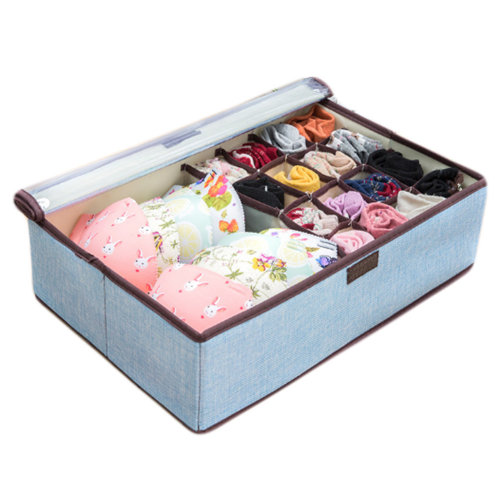 17 Grid Washable Bra Closet Storage Organizer with Protect Clear Lid