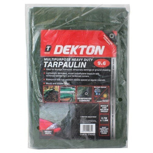 Dekton Tarpauline 9' x 6' - Storage, Transport, Temporary Awnings Or Ground - -  dekton multipurpose heavy duty tarpaulin 9x6 2 packs bnip