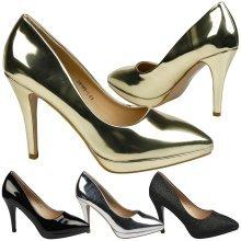 Verona Womens High Stiletto Heel Platform Court Shoes in Larger Sizes