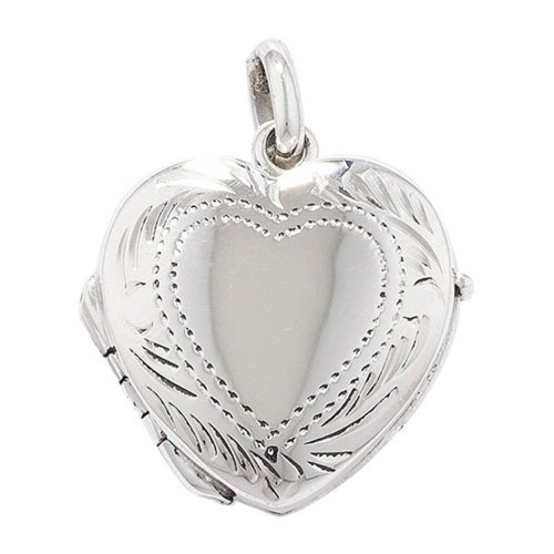 Sterling Silver 3 Way Engraved Heart Locket On A Snake Necklace