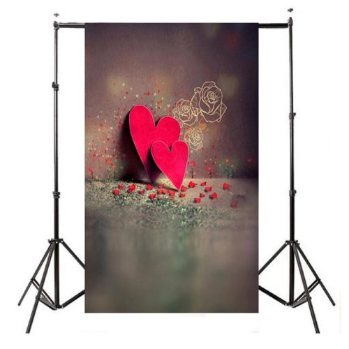 3x5FT Vinyl Valentine's Day Photography Backdrop Red Heart Background Studio Prop
