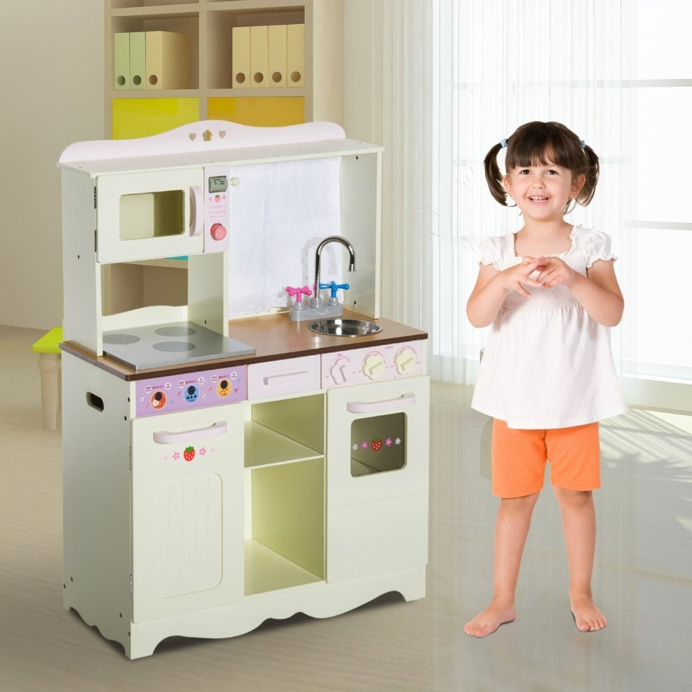 Homcom Kids Wooden Large Kitchen Role Play Set Learning Toy White on ...