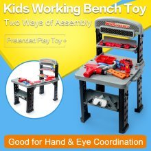 deAO Garage WorkShop and Tool PlaySet Mechanic Work Bench with Fold Up Design Includes Multiple Accessories and Electric Drill.