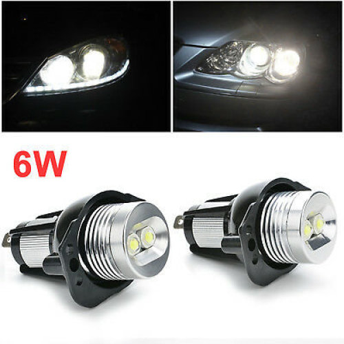 2x BMW E90 E91 3 Series Angel Eye Halo Ring LED Light 6W Marker Bulb Xenon New