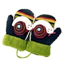 Double Thicken Children Owl Gloves Moving Easily Black Mittens(4-10 Years)