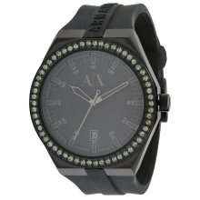 Armani Exchange Black Silicone Crystal Ladies Watch AX1217