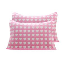 2 PCS Cotton Four Layer Pillow Towel Soft Pillow Blanket Elegant Protector Best Skin Care, Pink Heart