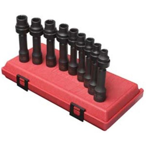 "Sunex Tools SU2695 9 Pieces 1/2"" Drive Metric 12 Point Drive line Impact Socket Set"