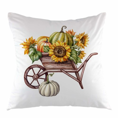 """Melyaxu Pumpkin Sunflower in Wheelbarrow Throw Pillow Cover Square Cushion Case Home Decorative for Sofa Couch Thanksgiving 18"""" x 18"""" inch"""