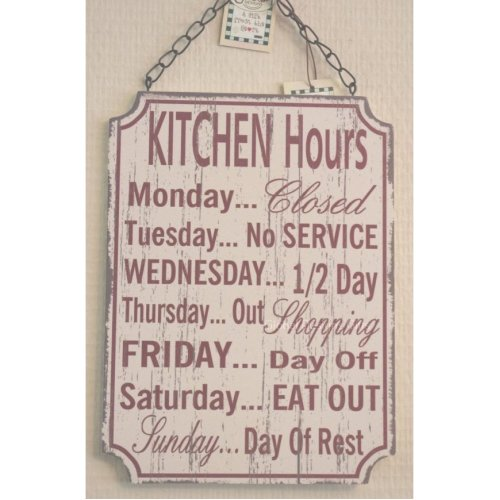 Kitchen Opening Hours Funny Plaque Sign SG1920