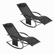 SoBuy® Set of 2 Outdoor Garden Rocking Chair Recliner Sun Lounger with Side Bag