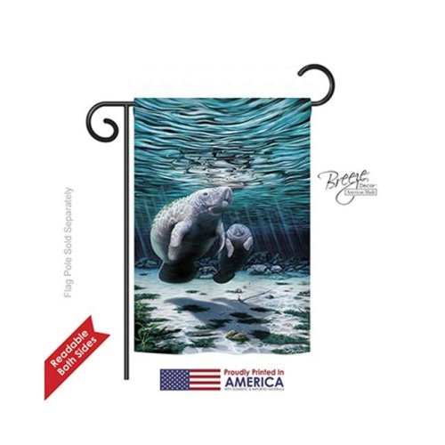 Breeze Decor 57049 Beach & Nautical Manatees 2-Sided Impression Garden Flag - 13 x 18.5 in.