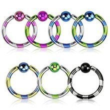 Duo Tone Striped Titanium Plated Surgical Steel CBR Captive Bead Ring Universal Piercing Body Jewellery
