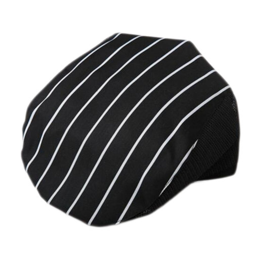 Fashion Cook Hats Hotel Cafe Breathable Mesh Chef Hats-Black White Strip