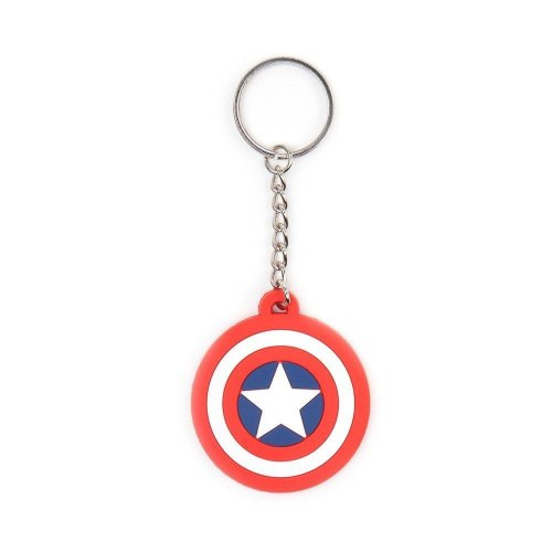 Marvel Comics Captain America Shield Logo Rubber Keychain - Multi-Colour