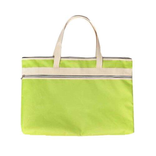 Portable Document Bag Zipper Bag Multi-layered Data Bag Briefcase, Green