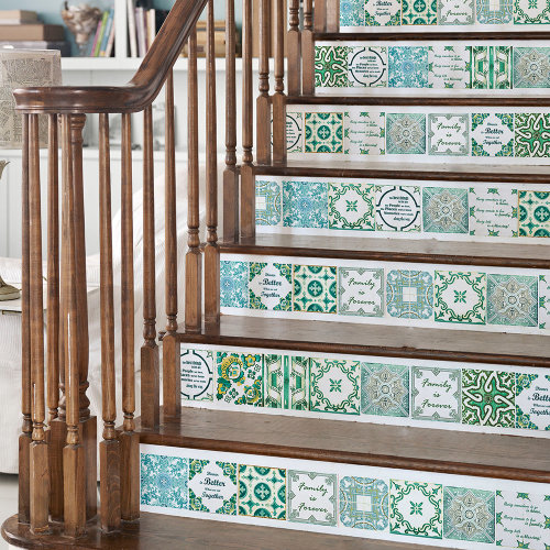 Walplus Tile Sticker English Quote Vintage Green Wall Sticker Decal (Size: 15cm x 15cm @ 24pcs)
