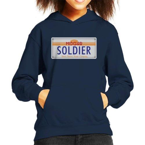 Final Fantasy Midgar Soldier License Plate Kid's Hooded Sweatshirt