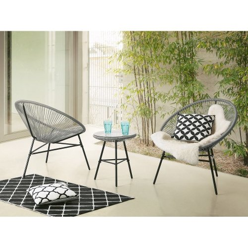 Beliani ACAPULCO Grey Outdoor Bistro Set | String Table & Chair Set