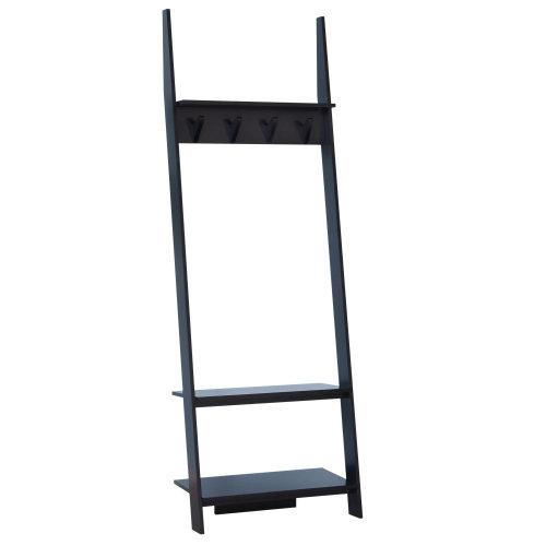 HOMCOM 3 Tier Ladder Shelf Wall Storage Display Rack Garment Tidy Rails Leaning Clothes Hanger Bookcase Plant Flower Stand 4 Hooks Black