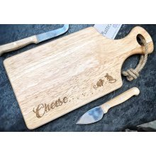 Wooden Rectangular Paddle Board And Cheese Board - 30x17cm