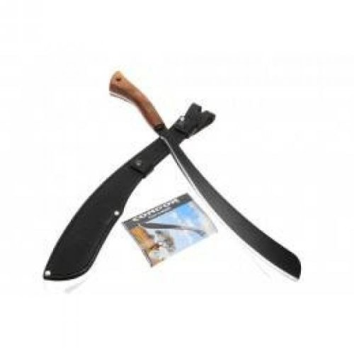 "Condor Parang Machete 17-1/2"" Carbon Steel Black Blade, Hardwood Handles, Leather Sheath"