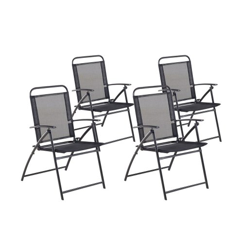 Set of 4 Garden Aluminium Chairs Black LIVO