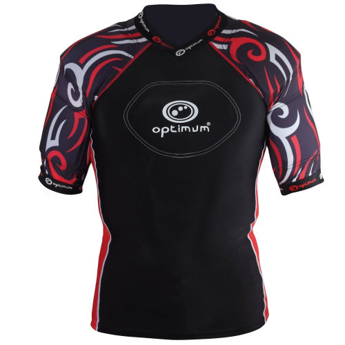 Optimum Razor Adult Rugby Body Protection Shoulder Pads Black/Red