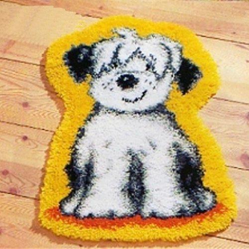 """Latch Hook Rug Kit""""Shaggy White Dog"""" 52 x 45cm Shaped"""