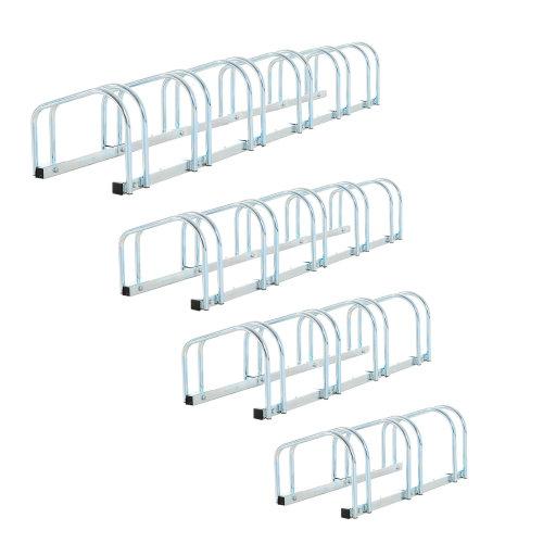 HOMCOM 3-Bike Floor Parking Stand – Silver