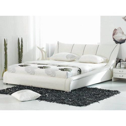 Super King Size - 6 ft - Leather Bed 180x200 cm - incl. stable slatted frame - White NANTES
