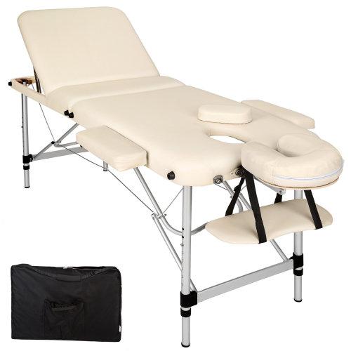 3-zone massage table aluminium 5 cm padding + bag beige