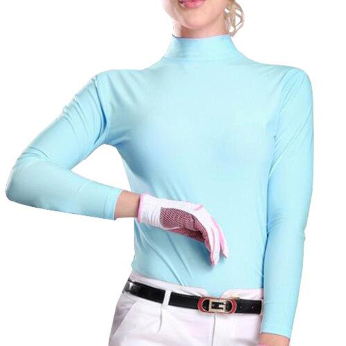 Womens Golf Ice Silk Shirts Outdoor Sun Protective Clothing Light Blue