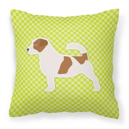 Carolines Treasures BB3807PW1818 Jack Russell Terrier Checkerboard Green Fabric Decorative Pillow
