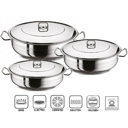 GASTRO Stainless Steel Shallow Pot With Lid