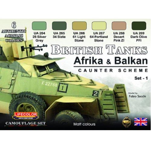 LifeColor British Tanks Set 1 Africa and Balkans (22ml x 6)
