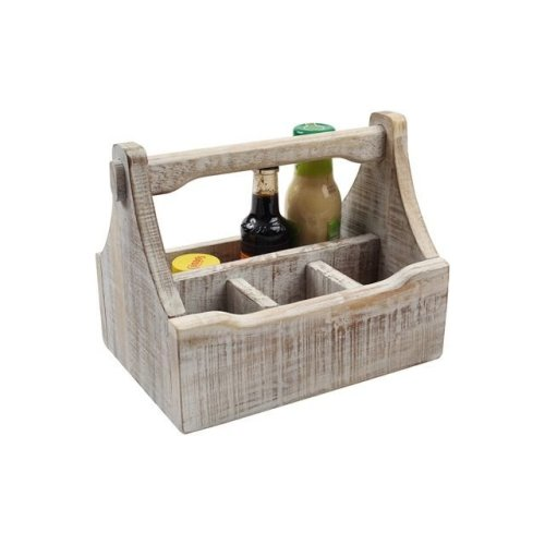 T&G 27310 Nordic 4 Compartment Table Caddy, White Acacia Wood,