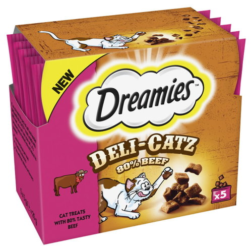 Dreamies Deli-catz Cat Treats With Beef 5x5g Pack (Pack of 16)