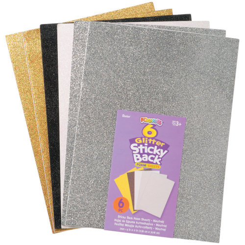 "Glitter Sticky Back Foam Sheets 9""X12"" 6/Pkg-Neutrals"