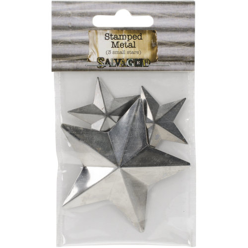 "Tin Metal Shapes 3/Pkg-Stars 1.5""-3"""