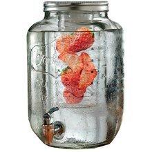 Giftsmartonline Glass Beverage Dispenser - Mason Jar+fruit Infuser - 2 Gallon - -  yorkshire drink dispenser infuser glass circleware beverage fruit