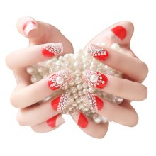 2 Boxes(48 Pieces) Wedding Beautiful Style DIY 3D Design False Nails, Red