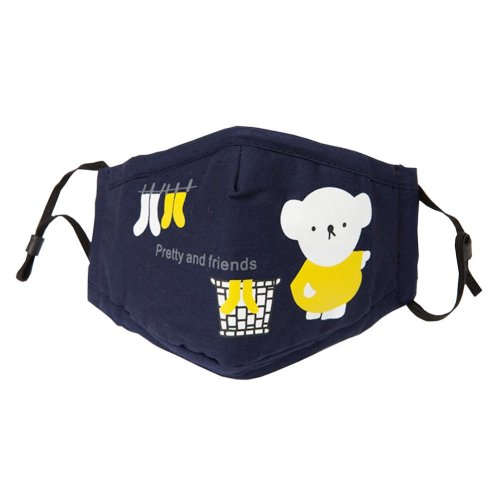 Cotton PM2.5 Anti-smog + N95 Activated Carbon Mask Children Masks Bear Navy