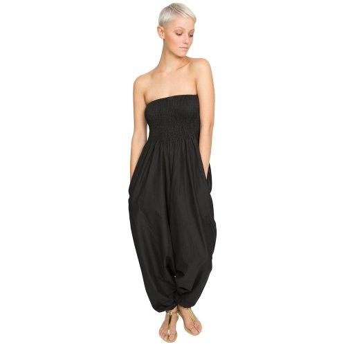 ab879e6721 Cotton Maxi Harem Trouser Jumpsuit Black (One Size) on OnBuy