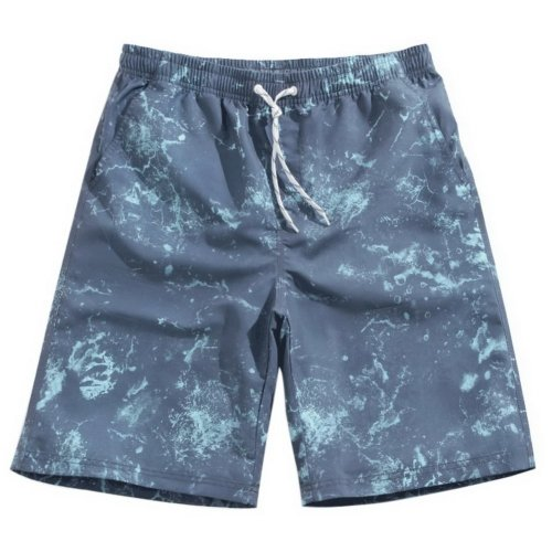 Men's Sports Casual Beach Loose Fashion Shorts, Blue Marble